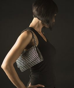 Francisca evening bag with fold over top - Black